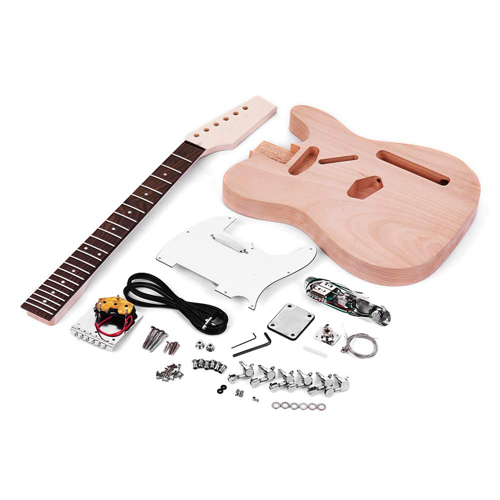 Walmeck Muslady Unfinished Electric Guitar DIY Kit TL Tele Style Mahogany Body Maple Wood Neck Rosewood Fingerboard