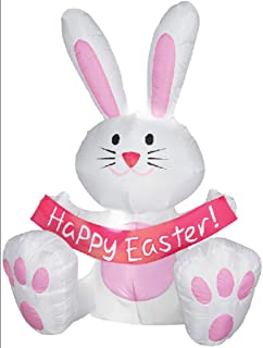 Gemmy Airblown Inflatable Easter Bunny With Pink Belly Ears And Feet