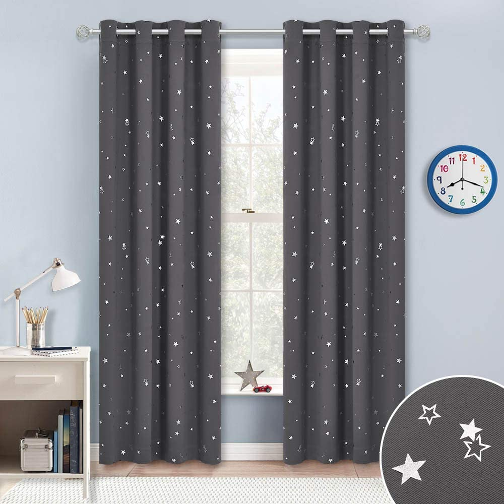RYB HOME Kids Curtains for Girls W 52 x L 45 inches Silver Star Pattern Sunlight Block Grommet Curtains for Children Kids Playroom Dining Cafe Living Room Holiday Decor 1 Pair Pink