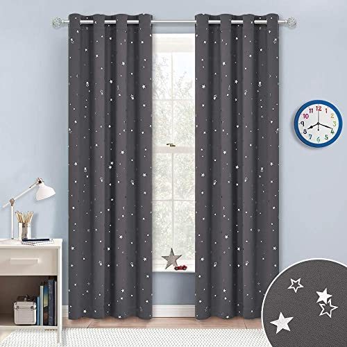 100 Blackout Curtains Starry Night Twinkle Moon and Star Pattern Galaxy Room Decor Thermal Insulated Nursery Window Drape with Grommet for Kid s Room Sold 2 Panels Each 52 x 84 , Black