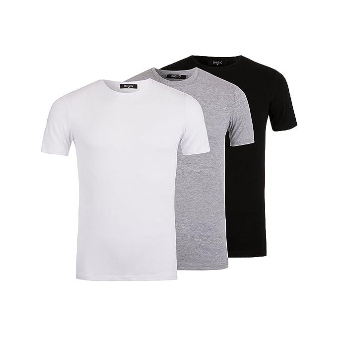 Nineties Paquete de 3 Camisetas Básicas Negro/Blanco/Gris - Para Hombre - Tee-Shirt Clásico Casual Mangas Cortas - Algodón - Desde XS Hasta XL: Amazon.es: ...