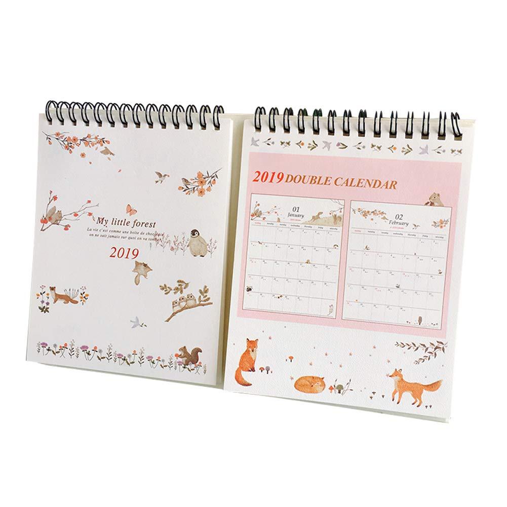 Olpchee 2019 Double Desk Calendar Cute Animal Home Creative Planner Calendar for Home Office (Style 1)
