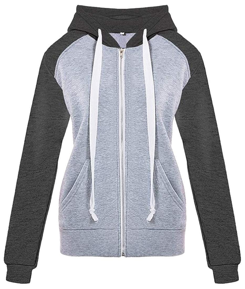 Jofemuho Womens Casual Activewear Zip Front Cardigan Contrast Long Sleeve Hooded Sweatshirt