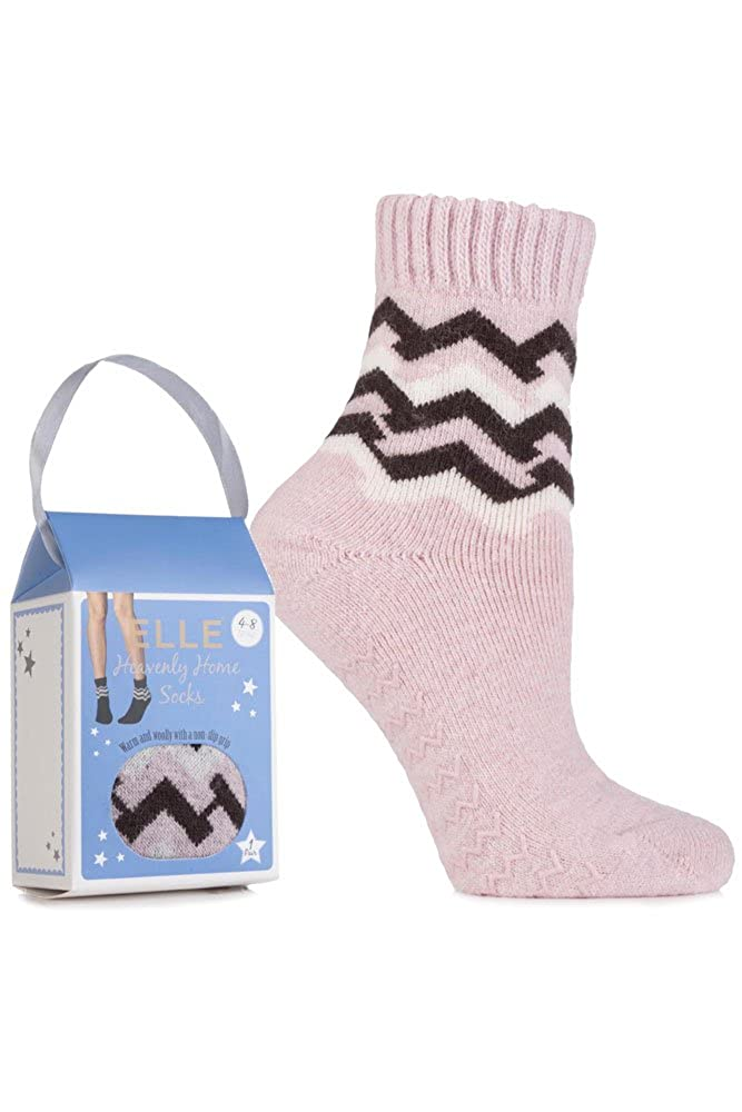 Elle Women's 1 Pair Gift Boxed Wool Blend Zig Zag Slipper Socks