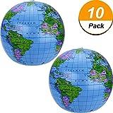 Pangda 16 Inch Inflatable Globe of World Inflatable Earth Ball Inflatable World Globe Beach Ball for Kids, Blue (10)