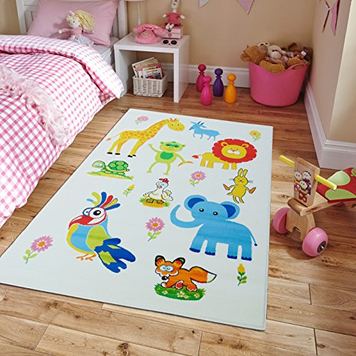 New Kids Rugs Zoo Animal Names Practice Educational Rug For Classroom & Playrooms, Large 5x7 Children Carpet Kids Rugs