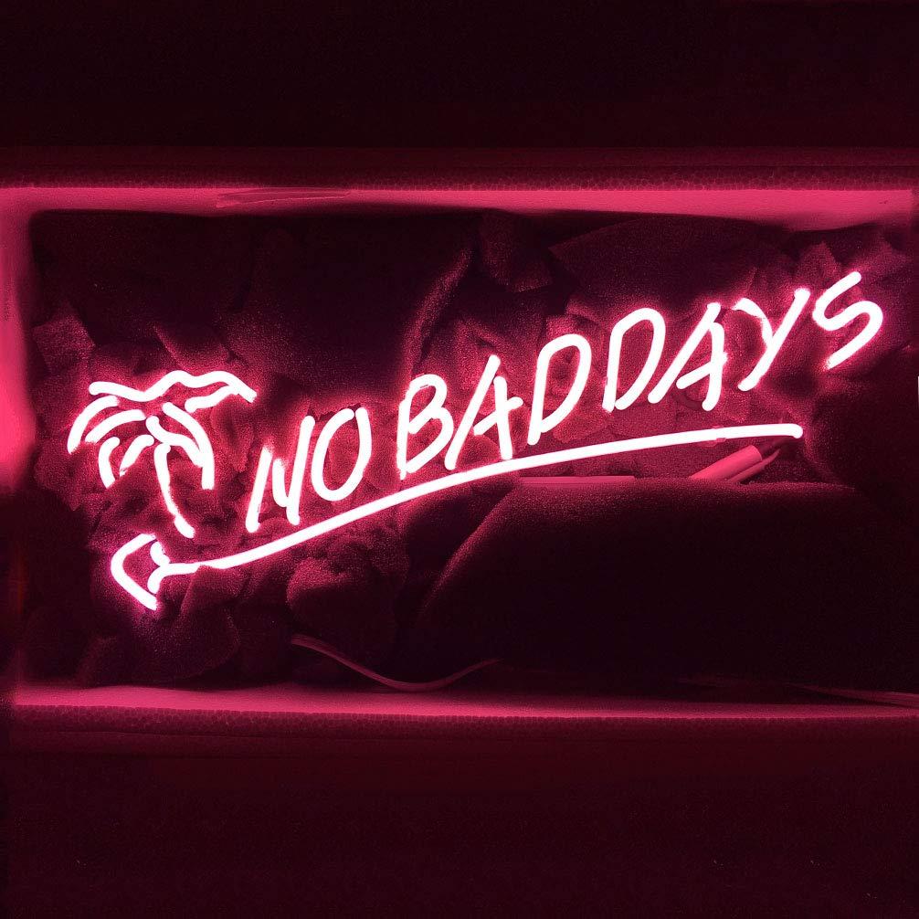 LiQi NO Bad Days Neon Sign (18.5'' x 8.5'' Large)Real Glass Acrylic Panel Handmade for Home Bedroom Pub Hotel Beach Recreational Game Room Decor