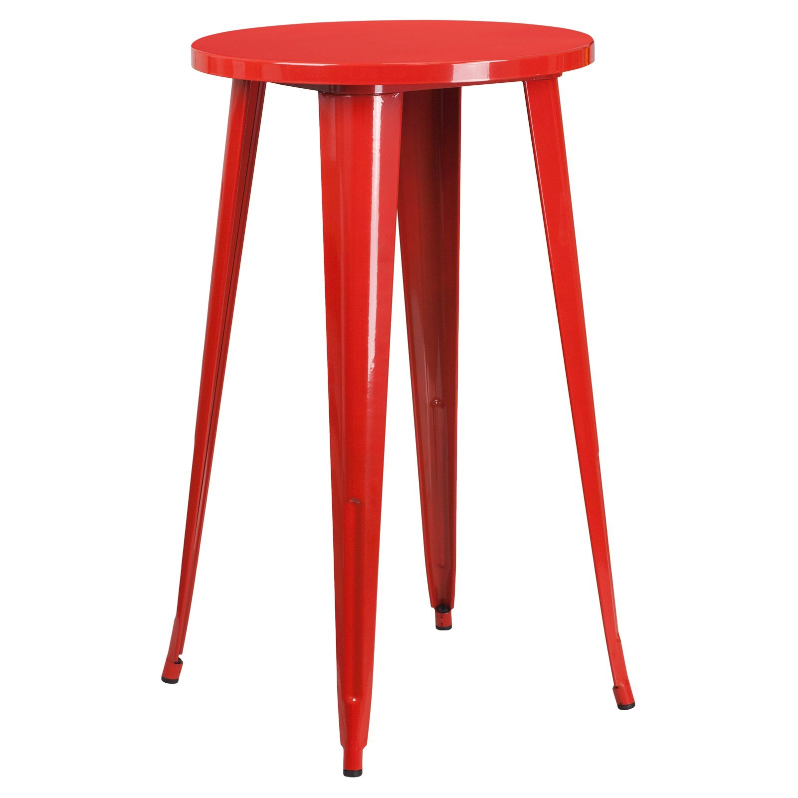 Basic Round Metal Indoor/Outdoor Bar Height Table with Protective Rubber Feet to Prevent Floor Damage, Thick Brace Underneath for Added Stability, Red + Expert Home Guide by Love US