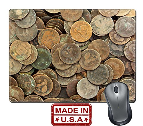 """Liili Natural Rubber Mouse Pad/Mat with Stitched Edges 9.8"""" x 7.9"""" peseta real old spain republic 1937 currency and cents centimos IMAGE ID 9533407"""