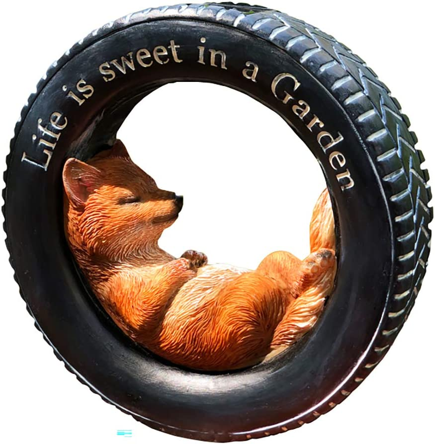 Solar Powered Fox in a Tire with SignLife is Sweet in a Garden Outdoor LED Garden Light Decor