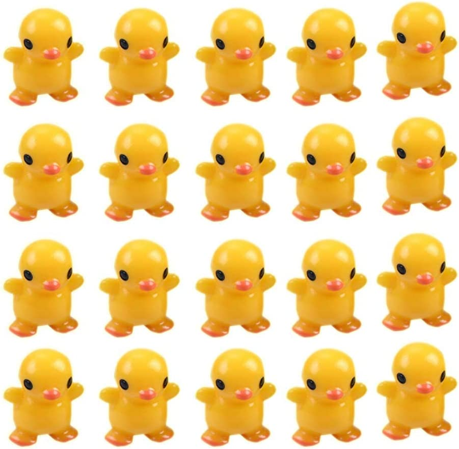 XIAOYAOJING 10/20 Pack Mini Yellow Duck Statue, Micro Landscape Miniature Figurines for DIY Garden, Home, Office Ornaments(20pcs)