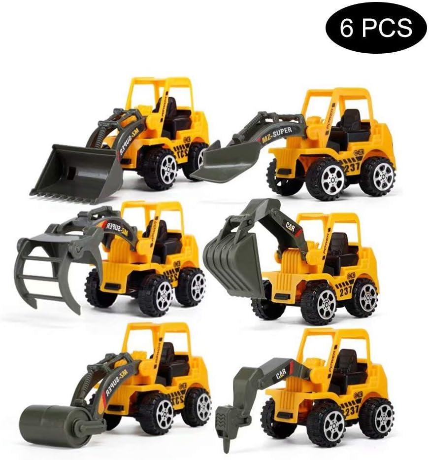 KEBY Baggerspielzeug Bauspielzeug Mini Baufahrzeuge Bagger LKW Spielesets 6 in 1 DIY Building Lerngeschenkspielzeug f/ür Jungen M/ädchen Alter 3 4 5