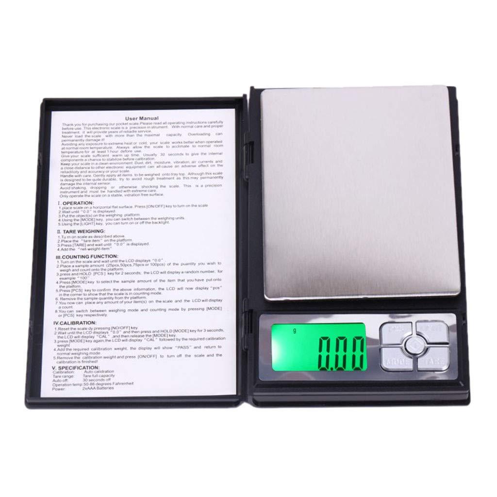 webla báscula de Cocina electrónica multifunción sin batería 0.01 gramo Joyas de precisión electrónica Báscula Digital Peso Báscula de Bolsillo 500 G: ...