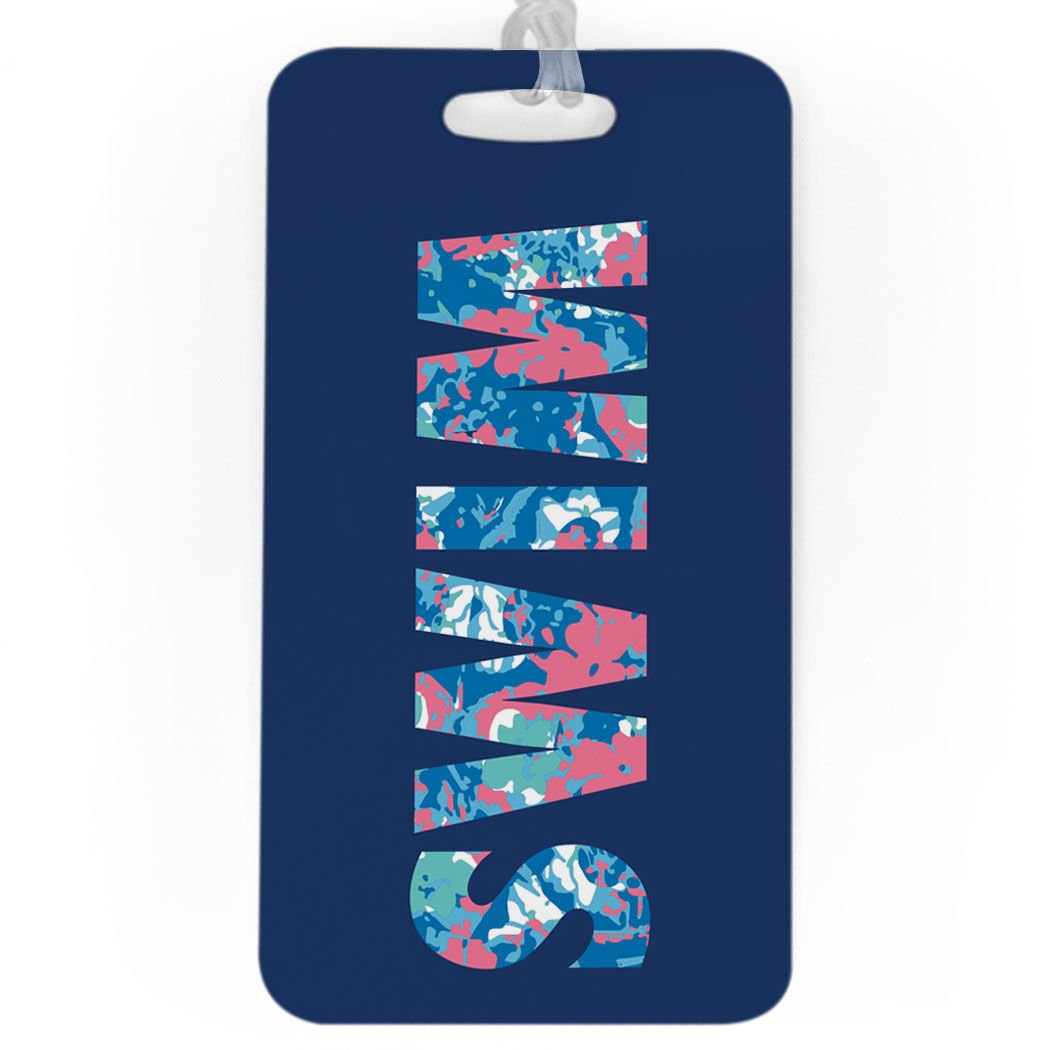 LARGE Floral Swim Standard Lines on Back Swimming Luggage /& Bag Tag