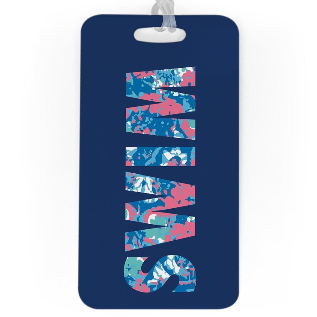 Swimming Luggage /& Bag Tag Custom Info on Back SMALL Floral Swim