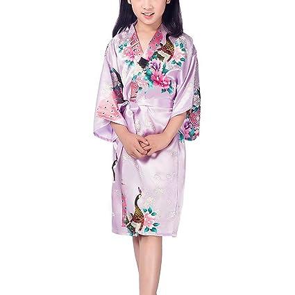 be7c9dd3a2f7a Buy girls cute japanese kimono silk short robe peacock nightgown ...