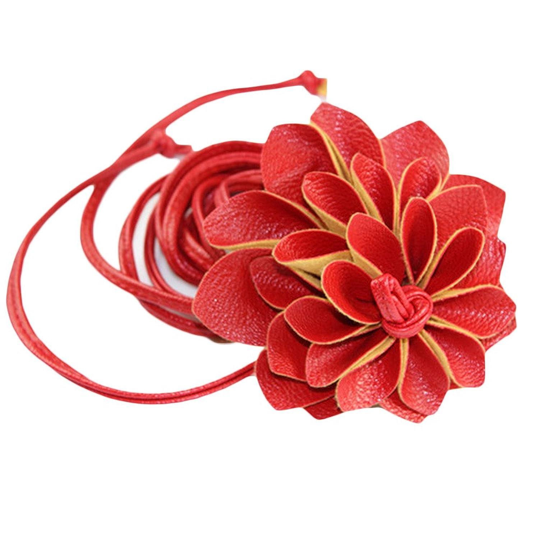 Motop Women's PU Leater Flower Weave Stretch Elastic Thin Belt
