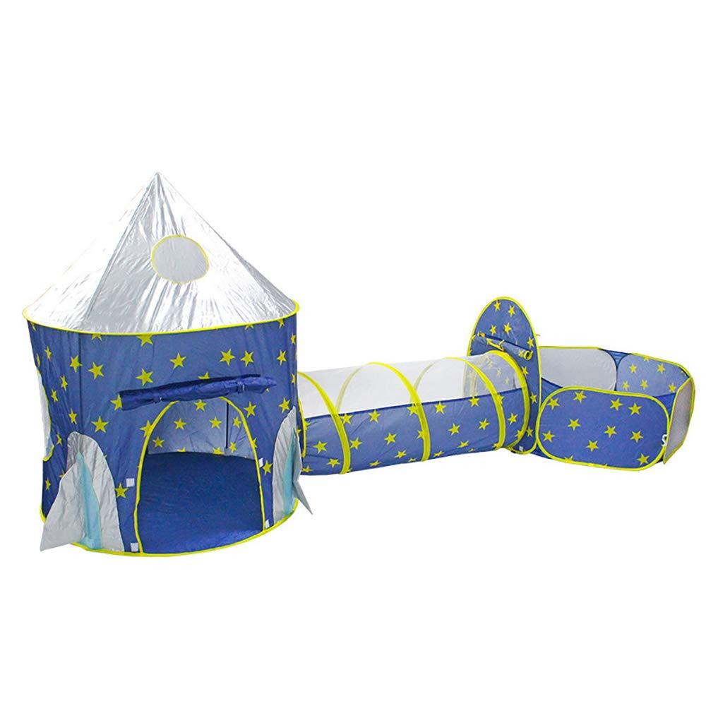 XBR Kinder Tunnelzelt Kinderzelt Spielzelt für Baby 3 in 1 Spielplatz mit Basketball Box Tunnel und Zelte(Blau)