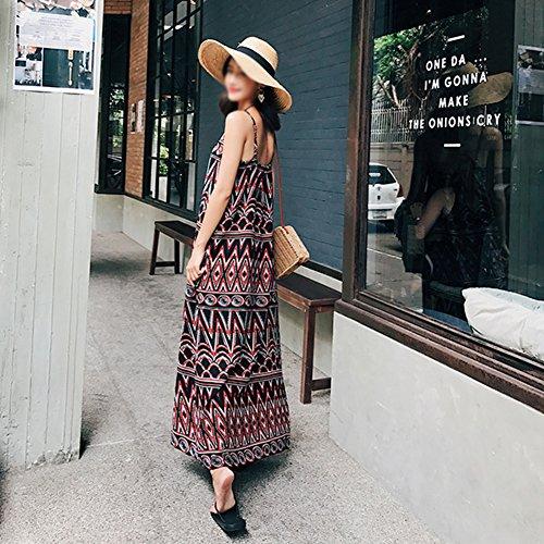 Sling Strand V Patterns Urlaub Sommer Geometric Kleider weibliche langen Stil ethnischen Seaside Ausschnitt Dress Böhmen Rock gP1xwxFfq