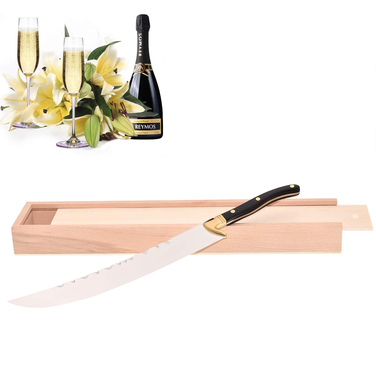 YiFeng Champagne Saber Champagne Sword Wine Knife Bottle Opener Wood Handle with Log Box