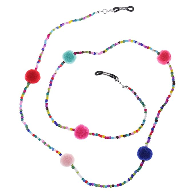 Prettyia Brillenkettenhalter Brillenbandhalter Brillenschnur Sonnenbrille Halter bunte Perlen Brillenkette