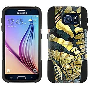 Samsung Galaxy S6 Hybrid Case Butterfly Wing - Yelow Blue Black 2 Piece Style Silicone Case Cover with Stand for Galaxy S6