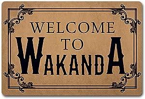 ZQH Entrance Door Mat Welcome to Wakanda Doormat Black Panther Rugs Monogram Door Mats (23.6 X 15.7 in) Non-Woven Fabric Top with a Anti-Slip Rubber Back Door Rugs Washable Doormat