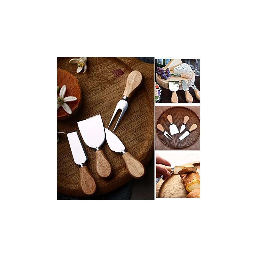Cheese Knife Set with Oak Wood Handle, Stainless Steel Cheese Knives Cheese Slicer Cheese Cutter, 4 Pieces