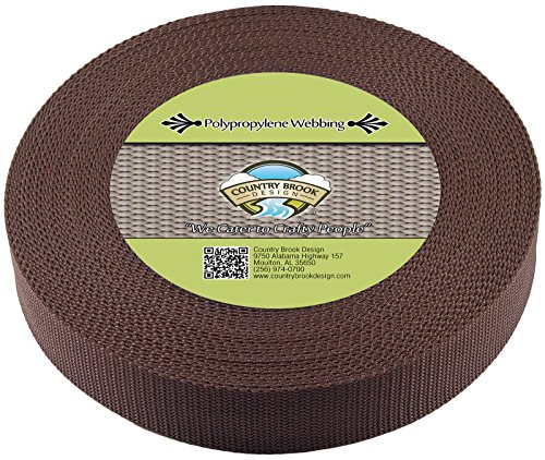 Country Brook Design 1 1/2 Inch Umber Brown Heavy Polypro Webbing, 25 Yards