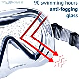 DIVE IT Snorkel Mask - Snorkel Set - Scuba Mask with Dry Snorkel Anti-fogging Lens & Dual Strap System (Black\Grey)