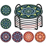 LIFVER Drink Coasters with Holder - 6 Pcs Absorbent Mandala Style Coasters and Anti-rust Metal Holder - Perfect Housewarming Gifts