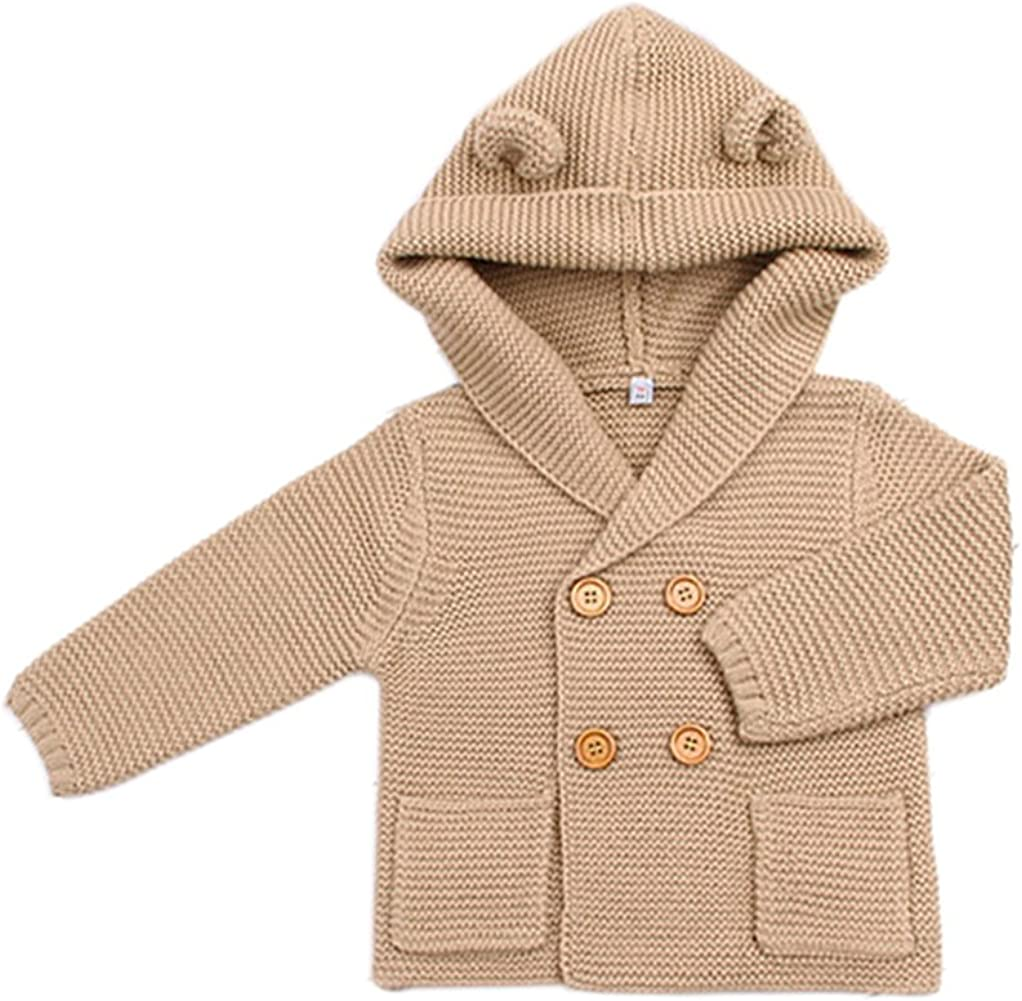 TAIYCYXGAN Unisex Baby Sweater Hoodies Toddlers Cute Knit Winter Ear Sweater Double-Breasted