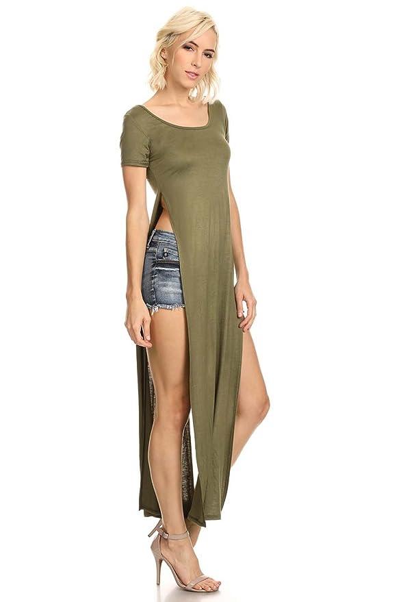 99ff4672da4 Women s Tshirt Double Deep Side Split Slit Maxi Dress at Amazon Women s  Clothing store