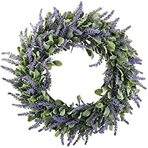 "Gatton 16"" Artificial Lavender Wreaths Flowers Arrangements Front Door Wall Home DIY Floor Garden Office ding Decor in Purple 