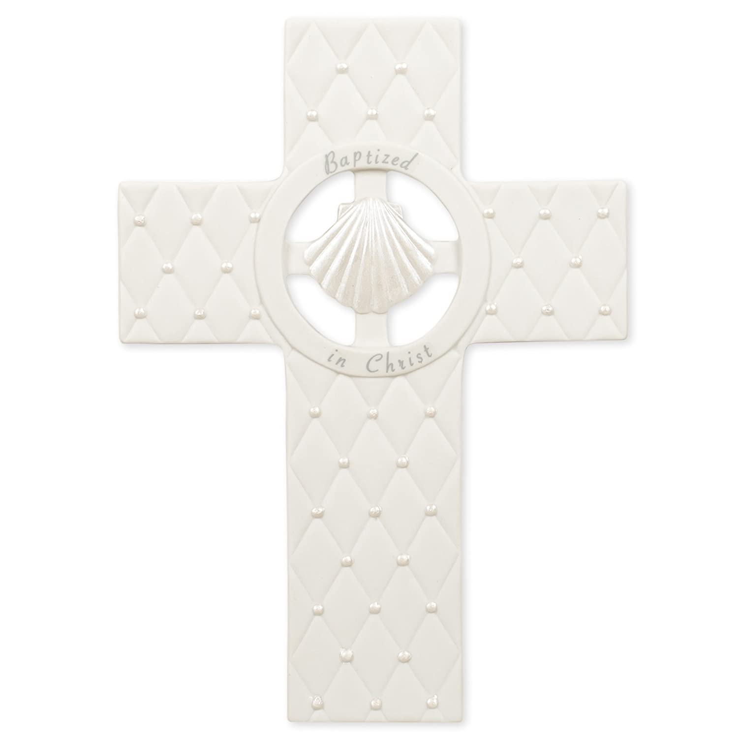 Roman Sea Shell Baptized in Christ 7.5 Inch Porcelain White Wall Cross Plaque