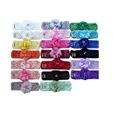 Dealzip Inc 20 PCS Headbands Hair Accessories for Baby Infant Girls Pearls Dianmonds Embellished Chiffon Flower Design