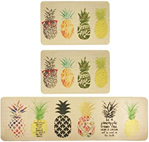 3 Pieces Sets Non-Slip Washable Kitchen Rug and Mat Rubber Durable Comfortable Laundry Room Area Rugs Entryway Doormat Pineapple