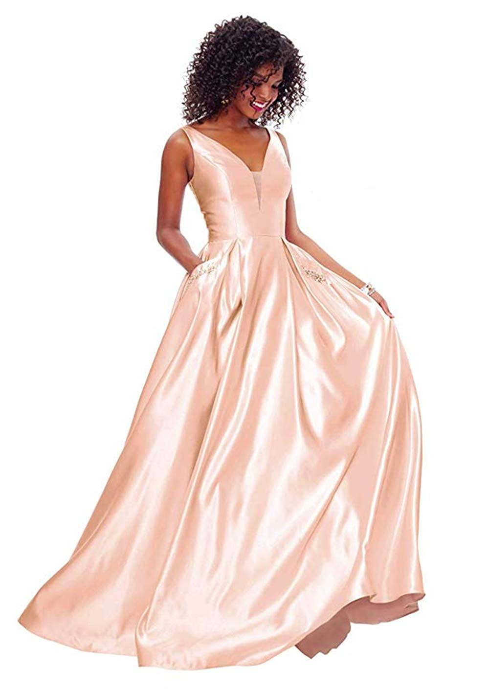 01pinkgold PROMNOVAS Women's V Neck Backless Beaded Satin Prom Dress Long Formal Evening Gown with Pockets