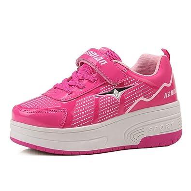Zapatillas con ruedas retráctiles, una o dos ruedas, automáticos, color rosa, talla 31 EU: Amazon.es: Zapatos y complementos