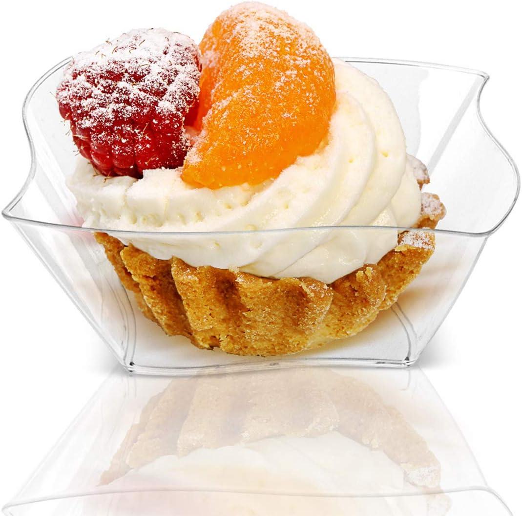 150 ml Lawei 100 St/ück Dessertbecher Plastik Dessertgl/äser mit Suppenl/öffel Wiederverwendbar Dessertschalen Plastikschalen f/ür Buffets Desserts Pudding Vorspeisen Partys