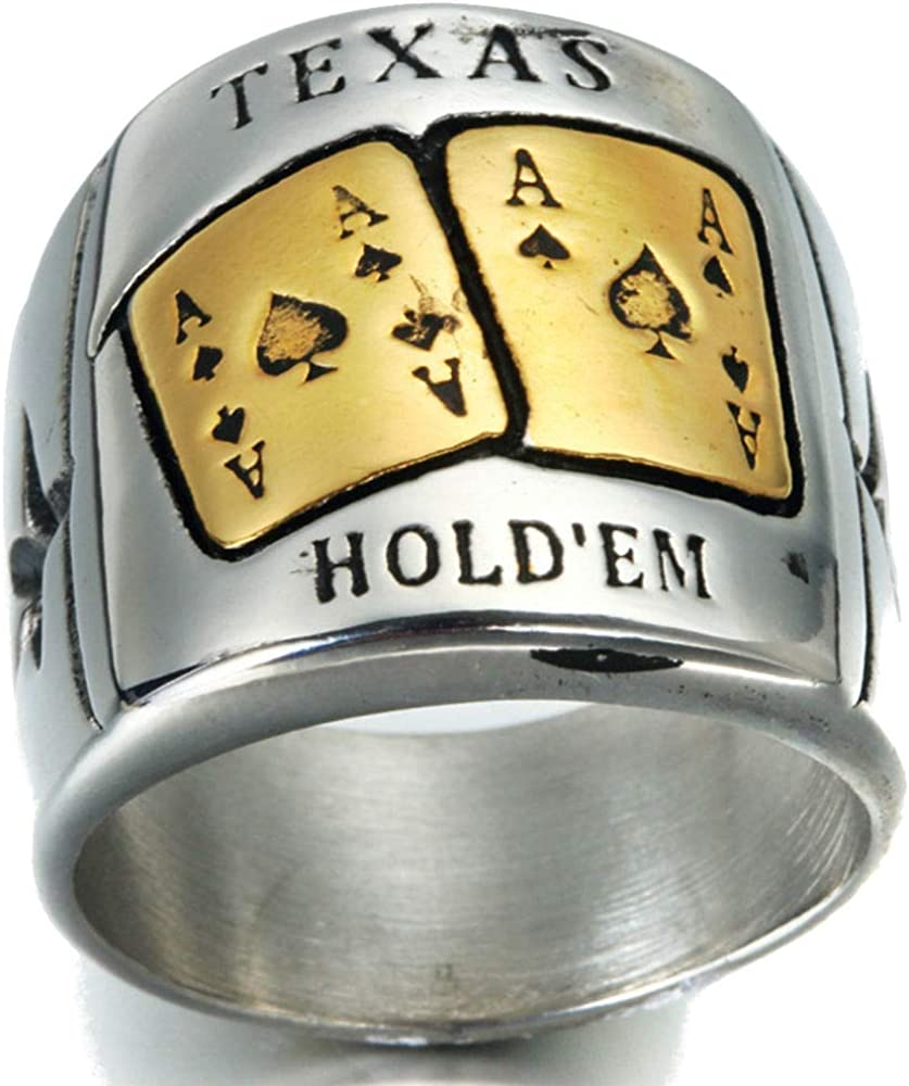Jude Jewelers Stainless Steel Texas Hold'em Poker Casino Games Spade Ace Ring