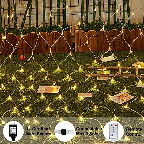Ollny LED Net Mesh Fairy String Decorative Lights 200 LEDs 9.8ft x 6.6ft Tree-wrap Warm White Lights with Remote for Christmas Outdoor Wedding Garden Decorations (Indoor Fairy Light Netting)