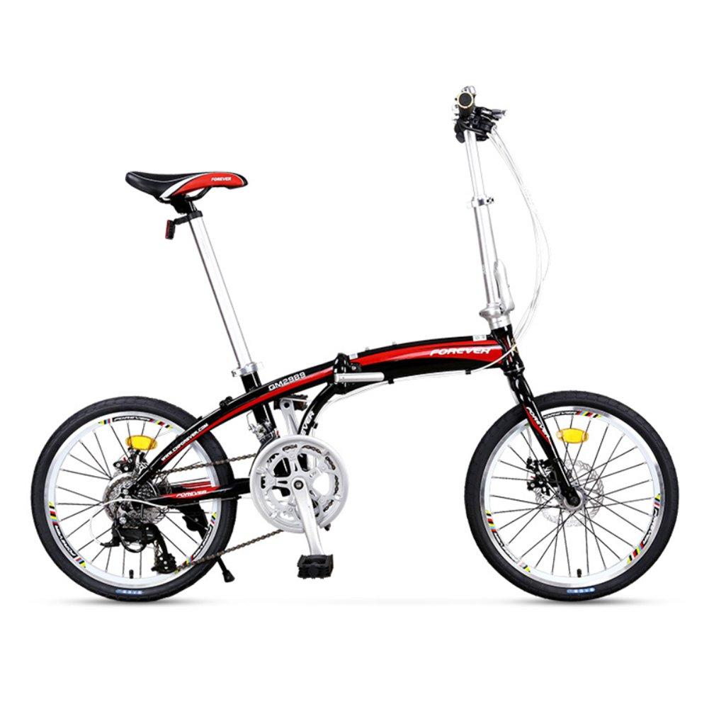 大人 折りたたみ自転車, 折りたたみ自転車 軽量 ポータブル 男女 16 スピード 折り畳み自転車 B07D2BY78Q 20inch|黒 黒 20inch