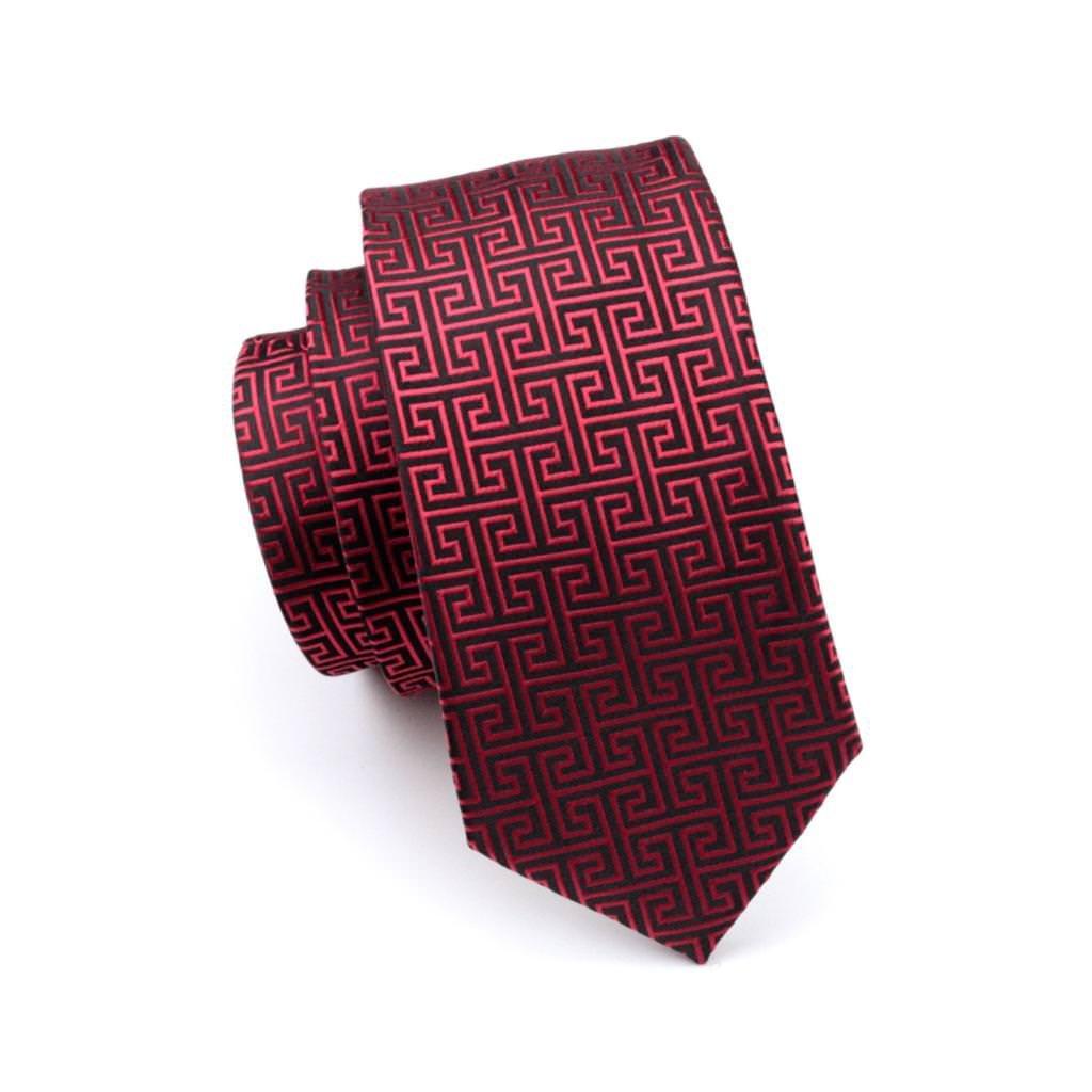 Red Mens Tie Silk Woven NeckTie Hanky Pocket Square Cufflink Set for Business Wedding Graduation Party