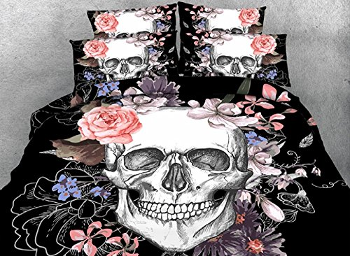UniTendo Gothic Dark Skull and Roses Vines Black Digital Bedding High Definition Black Carbon Print 4-Piece Duvet Cover Sets 3D Bedding Sets (Twin)