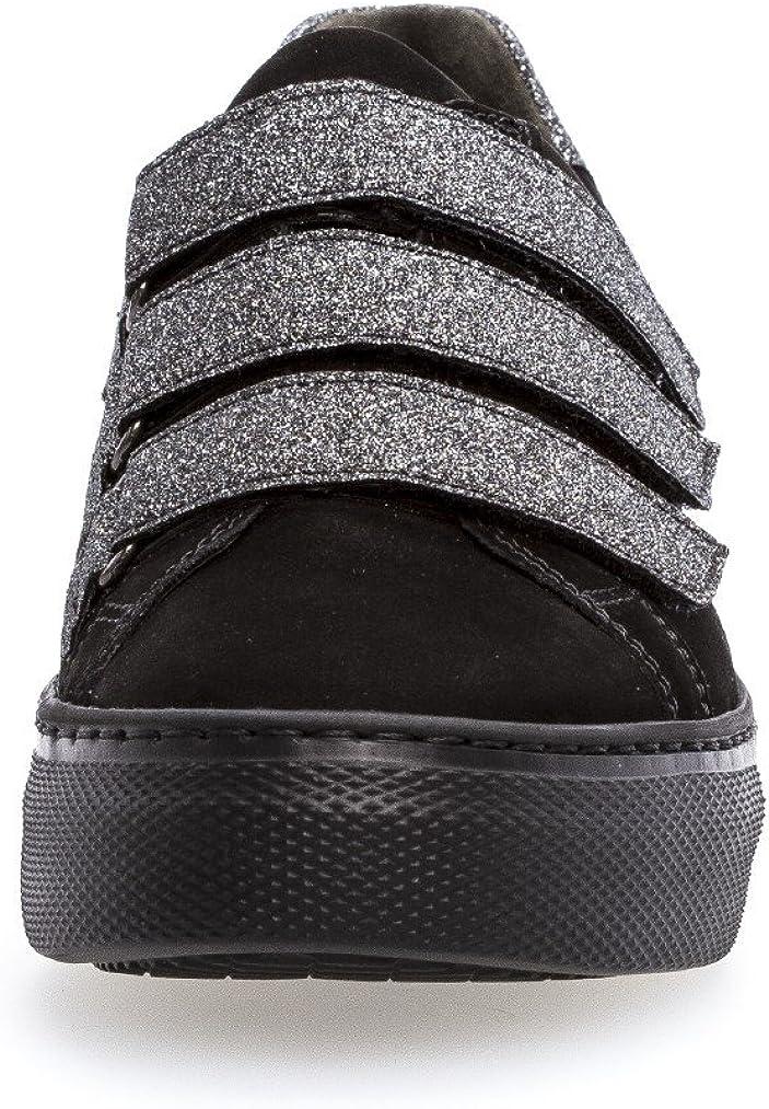 Gabor 76.467.97 - Pantofole da donna, in mocassino, con pianta intercambiabile Optifit Nero E Argento