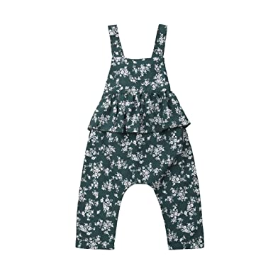 f7a4219870b Toddler Kids Baby Girls Floral Clothes Ruffle Romper Straps Jumpsuit  Overalls Suspender Bib Pants Casual Outfits