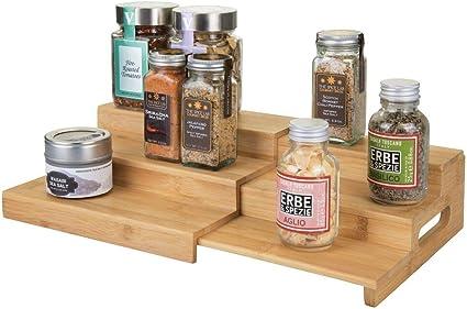 mDesign Especieros con baldas de Madera para armarios de Cocina – Estantería de Cocina Extensible con 3 Pisos para Usar como Organizador de ...