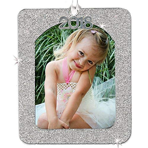 - 2018 Magnetic Glitter Christmas Photo Frame Ornament with Non Glare Photo Protector, Vertical - Silver