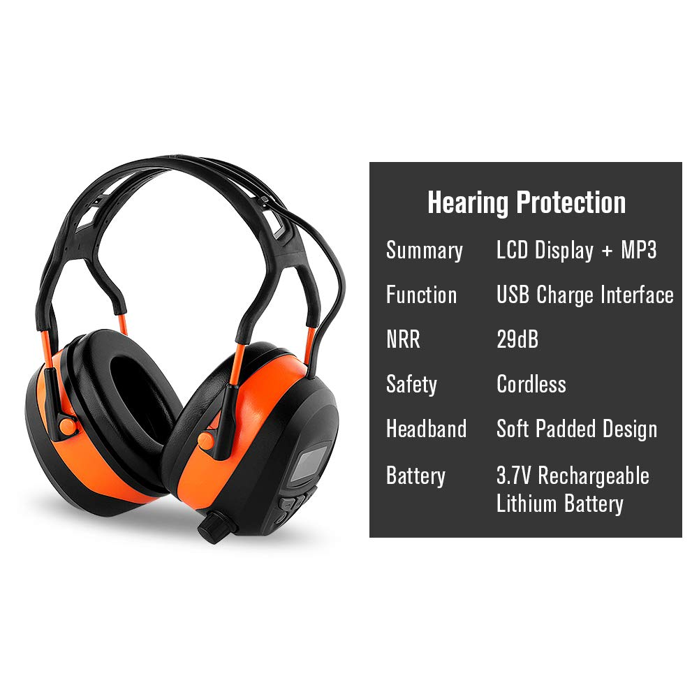 FM MP3 Bluetooth Radio Headphones Wireless Cancelling Headphones with 4GB SD Card Built-in Mic Electronic Noise Reduction Safety Ear Muffs Protection for Lawn Mower Work by WULFPOWERPRO by WULFPOWERPRO (Image #5)